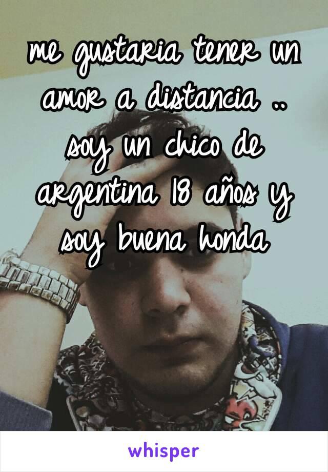 me gustaria tener un amor a distancia .. soy un chico de argentina 18 años y soy buena honda