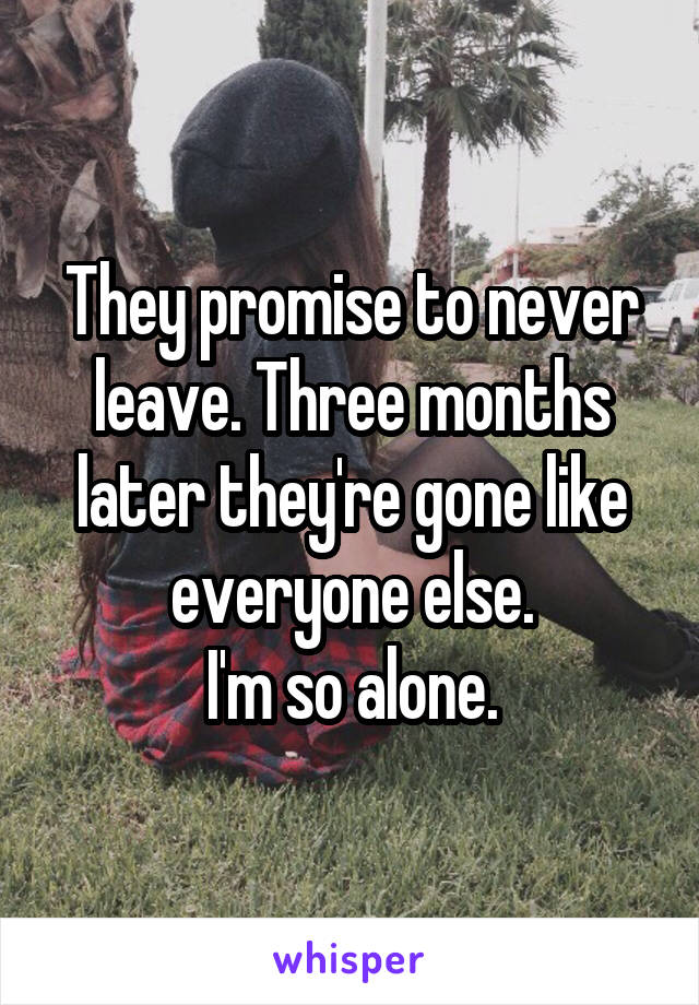 They promise to never leave. Three months later they're gone like everyone else. I'm so alone.