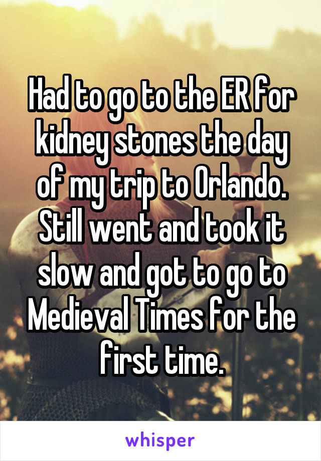 Had to go to the ER for kidney stones the day of my trip to Orlando. Still went and took it slow and got to go to Medieval Times for the first time.
