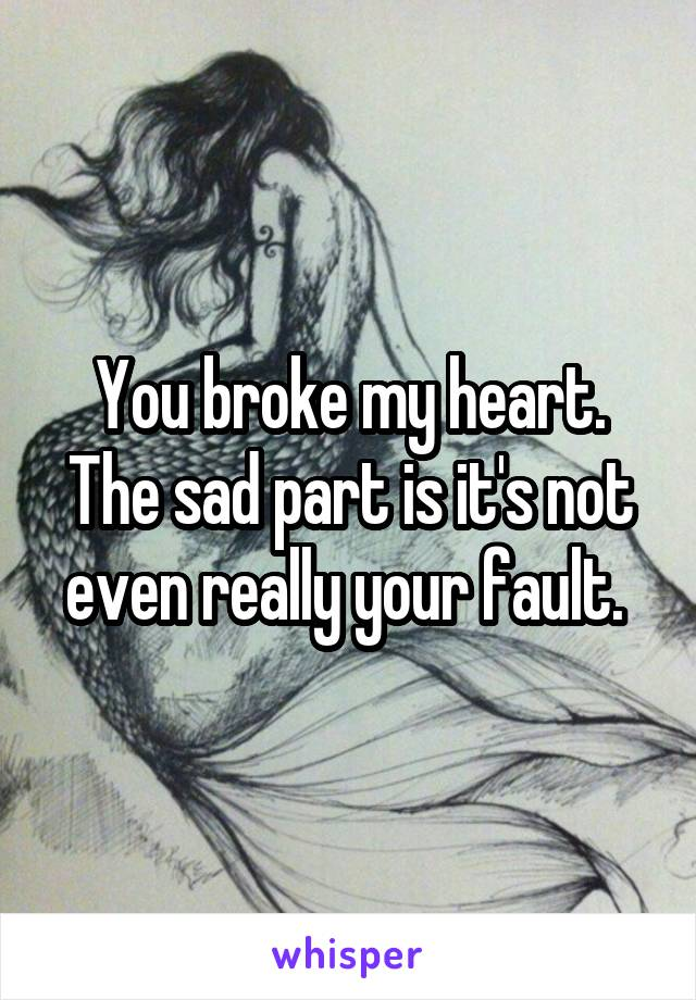 You broke my heart. The sad part is it's not even really your fault.