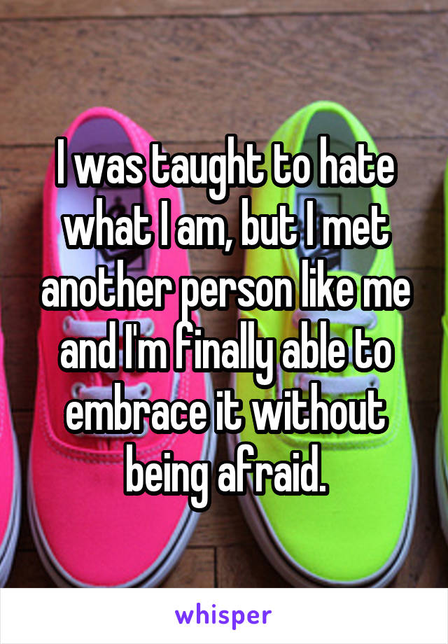 I was taught to hate what I am, but I met another person like me and I'm finally able to embrace it without being afraid.