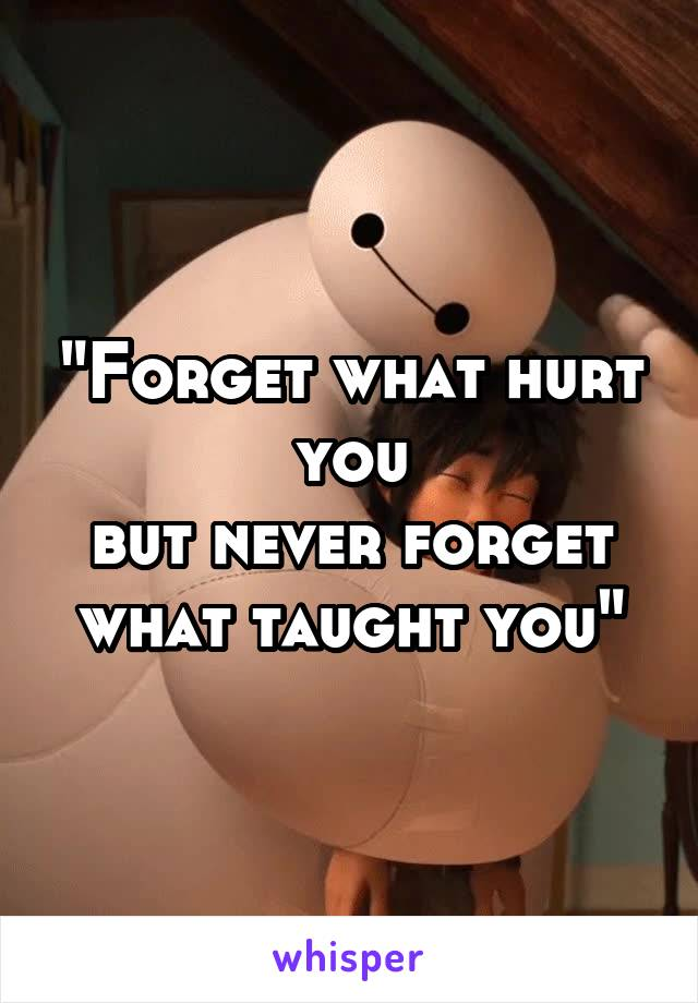 """""""Forget what hurt you but never forget what taught you"""""""