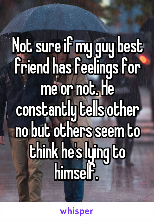 Not sure if my guy best friend has feelings for me or not. He constantly tells other no but others seem to think he's lying to himself.