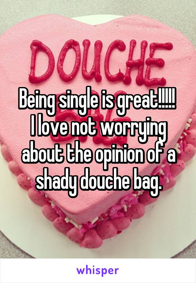 Being single is great!!!!!  I love not worrying about the opinion of a shady douche bag.