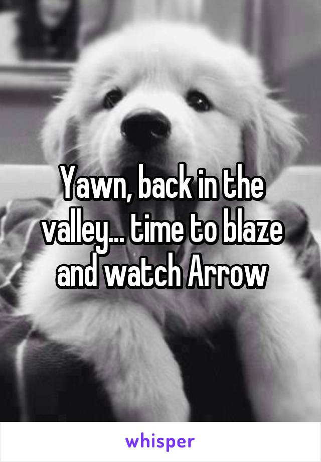 Yawn, back in the valley... time to blaze and watch Arrow