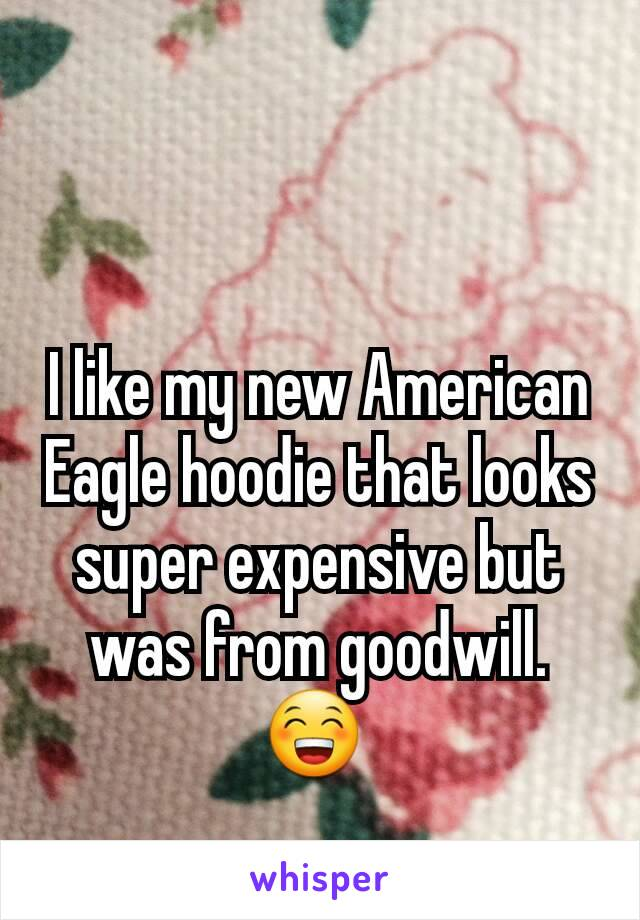 I like my new American Eagle hoodie that looks super expensive but was from goodwill. 😁