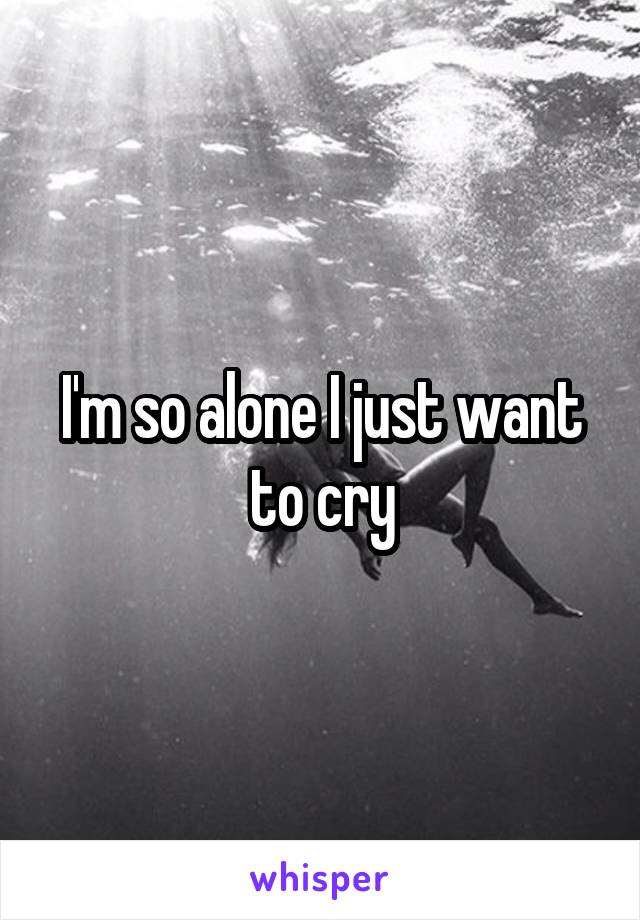 I'm so alone I just want to cry