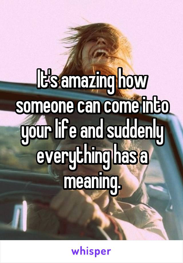 It's amazing how someone can come into your life and suddenly everything has a meaning.