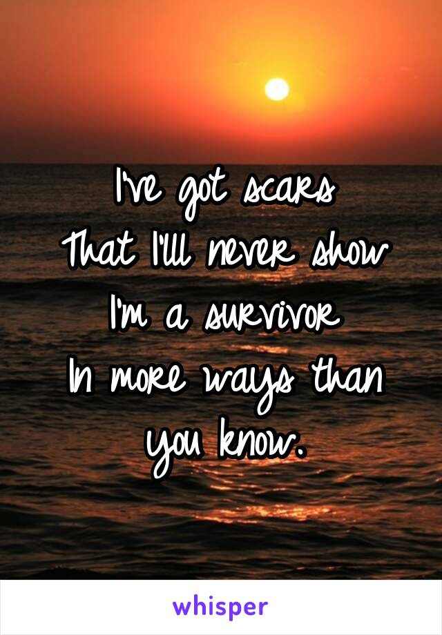 I've got scars That I'lll never show I'm a survivor In more ways than you know.