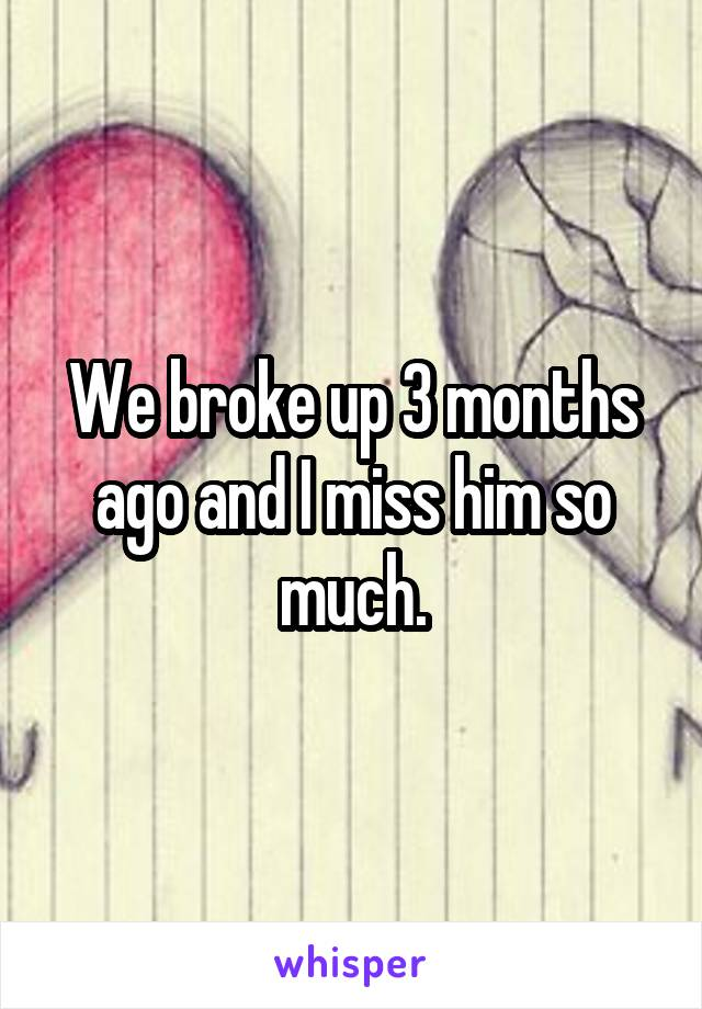 We broke up 3 months ago and I miss him so much.