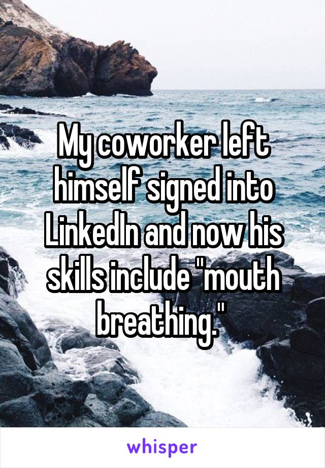 """My coworker left himself signed into LinkedIn and now his skills include """"mouth breathing."""""""