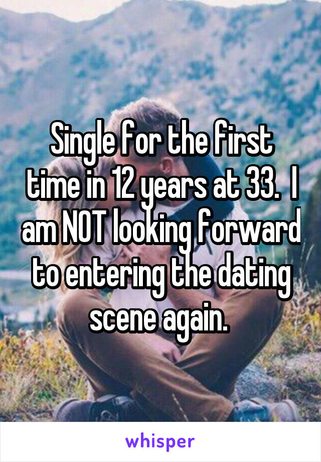Single for the first time in 12 years at 33.  I am NOT looking forward to entering the dating scene again.