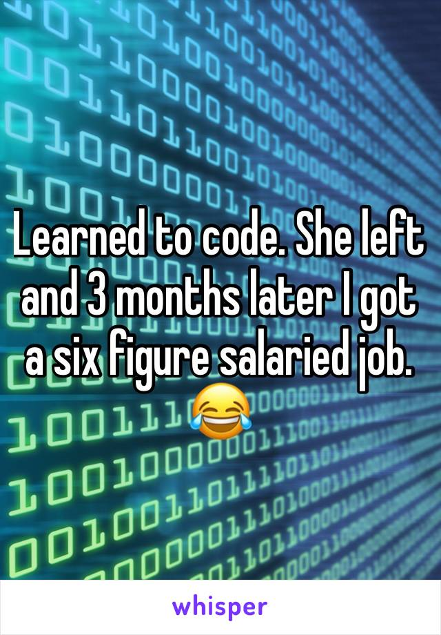 Learned to code. She left and 3 months later I got a six figure salaried job. 😂
