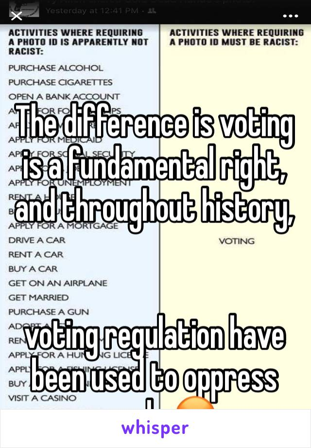 The difference is voting is a fundamental right, and throughout history,    voting regulation have been used to oppress people 😡