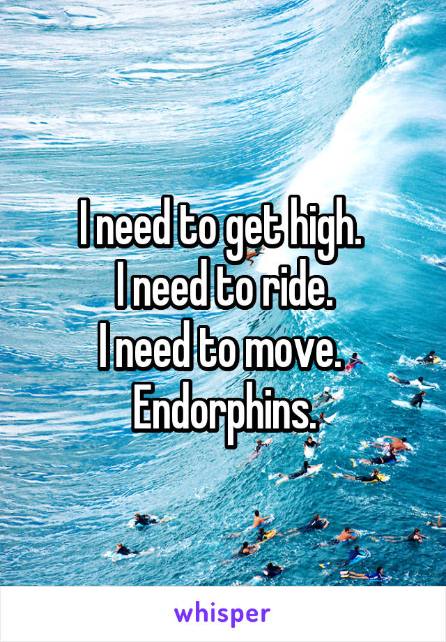 I need to get high.  I need to ride. I need to move.  Endorphins.