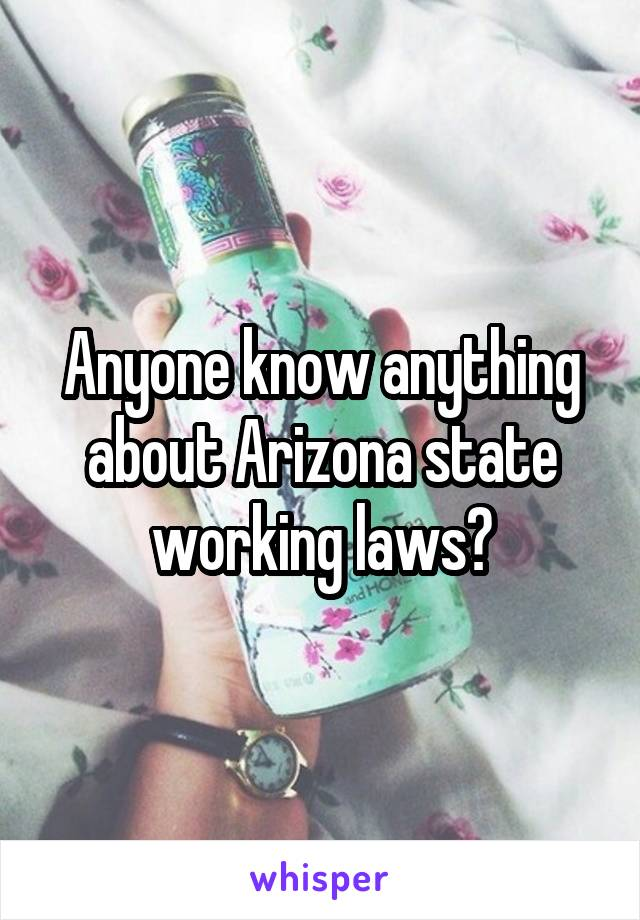 Anyone know anything about Arizona state working laws?