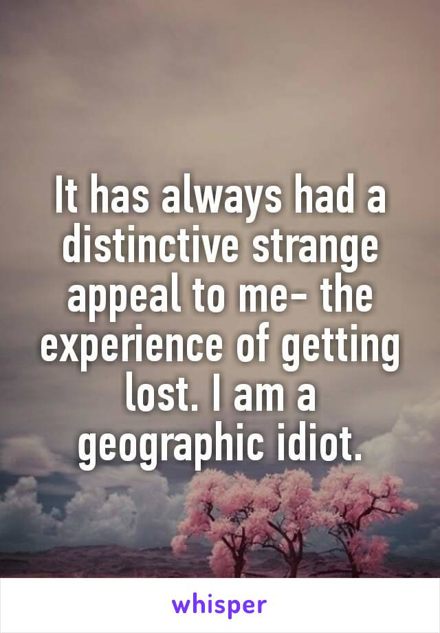 It has always had a distinctive strange appeal to me-the experience of getting lost. I am a geographic idiot.