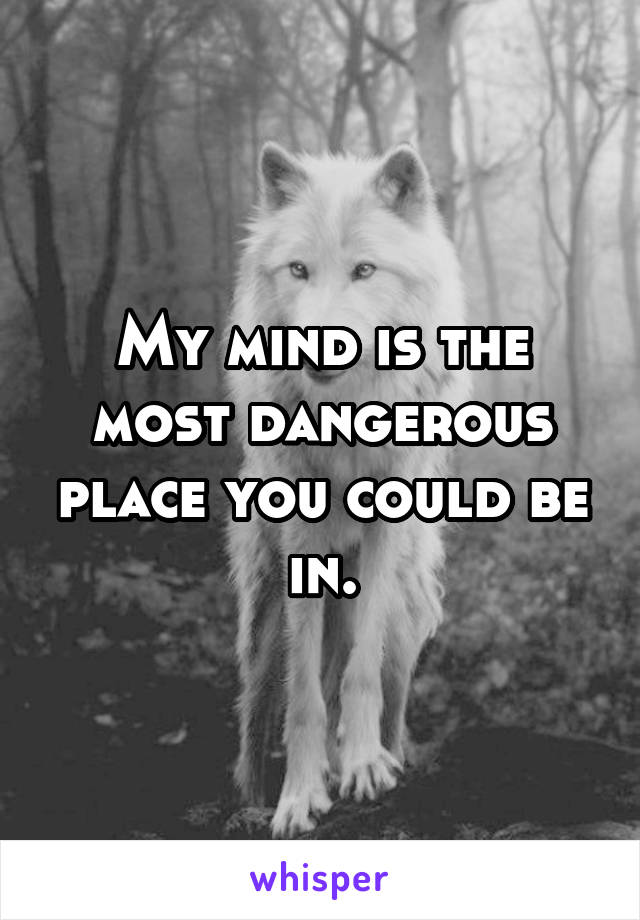 My mind is the most dangerous place you could be in.