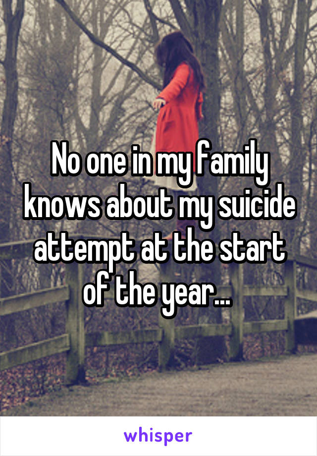No one in my family knows about my suicide attempt at the start of the year...