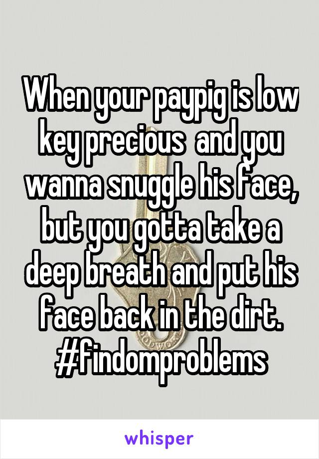 When your paypig is low key precious  and you wanna snuggle his face, but you gotta take a deep breath and put his face back in the dirt. #findomproblems