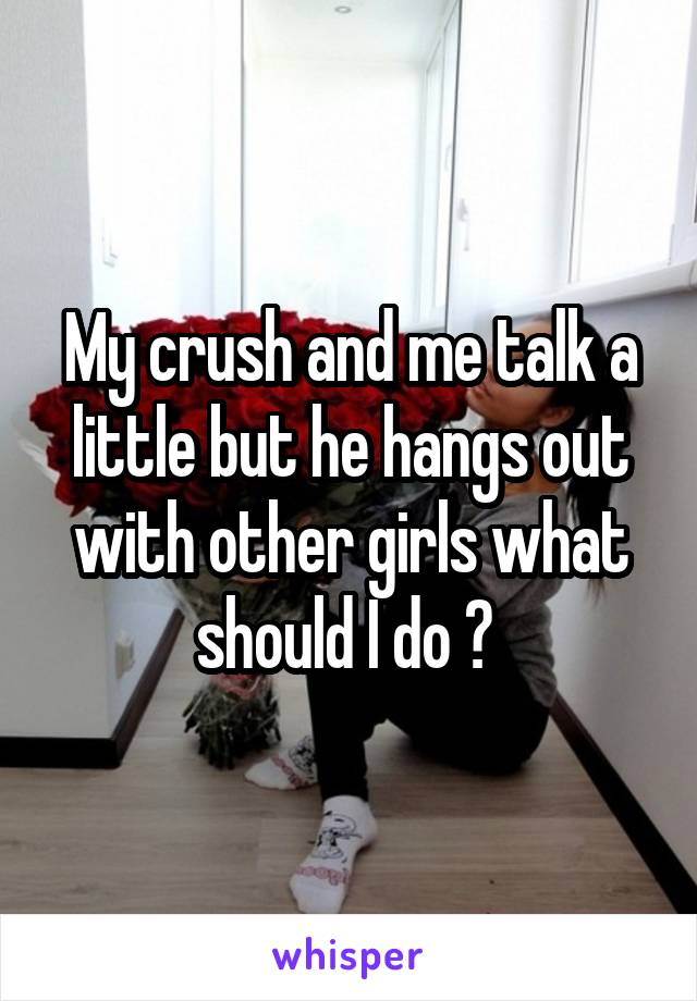 My crush and me talk a little but he hangs out with other girls what should I do ?