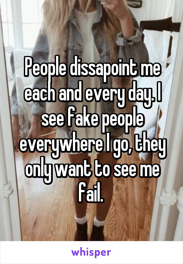 People dissapoint me each and every day. I see fake people everywhere I go, they only want to see me fail.