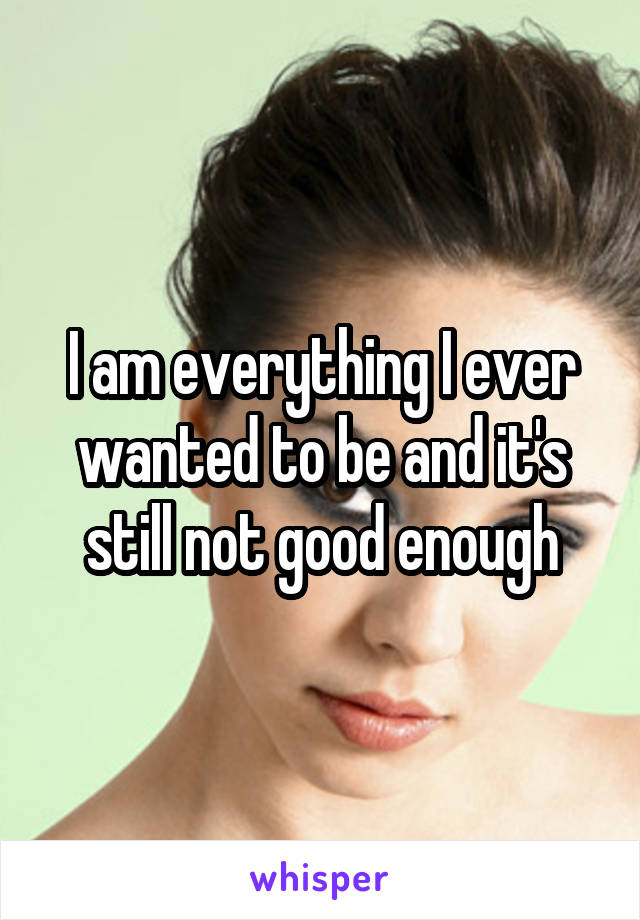 I am everything I ever wanted to be and it's still not good enough