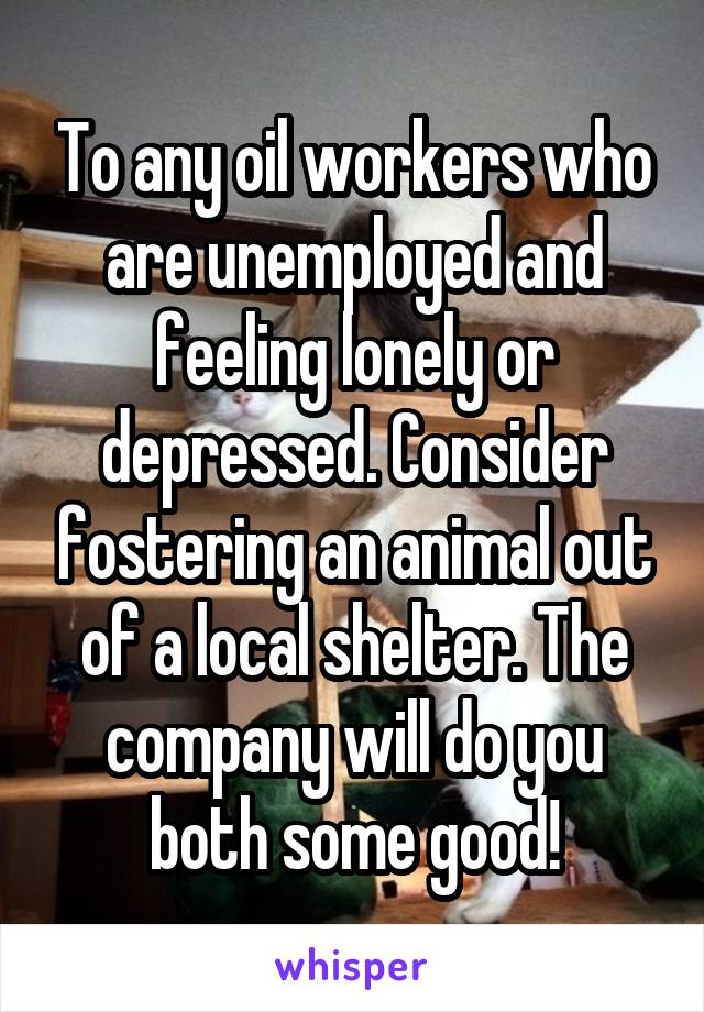 To any oil workers who are unemployed and feeling lonely or depressed. Consider fostering an animal out of a local shelter. The company will do you both some good!