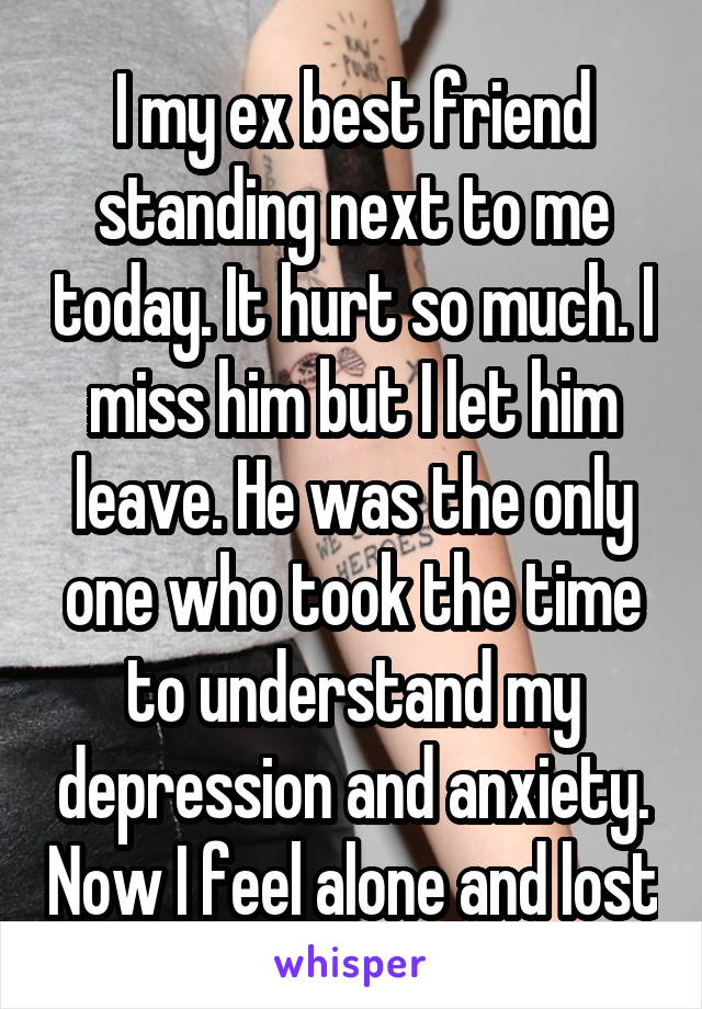 I my ex best friend standing next to me today. It hurt so much. I miss him but I let him leave. He was the only one who took the time to understand my depression and anxiety. Now I feel alone and lost