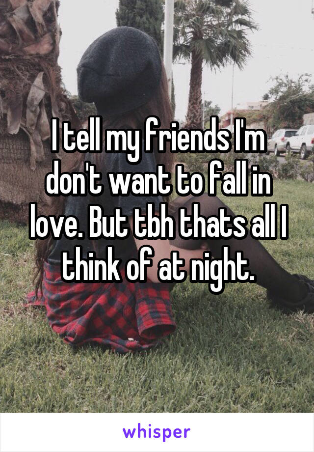 I tell my friends I'm don't want to fall in love. But tbh thats all I think of at night.