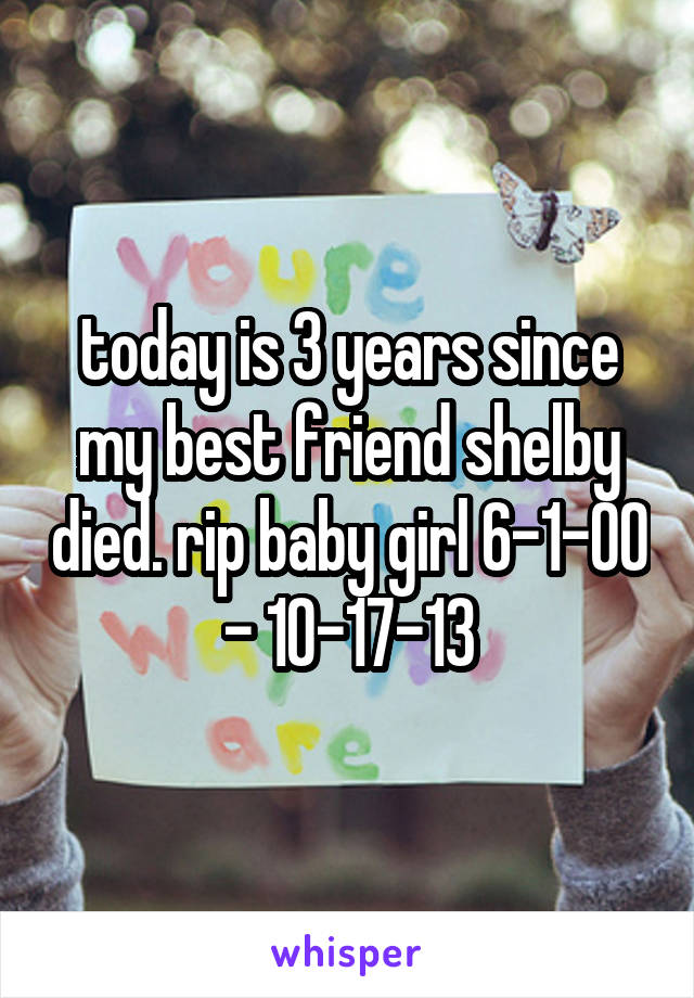 today is 3 years since my best friend shelby died. rip baby girl 6-1-00 - 10-17-13