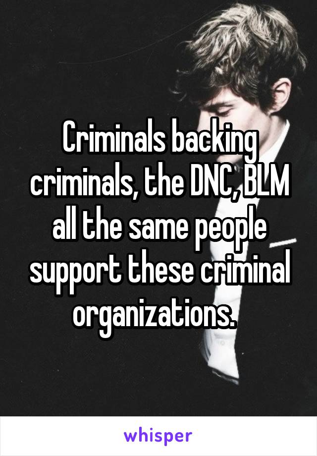 Criminals backing criminals, the DNC, BLM all the same people support these criminal organizations.