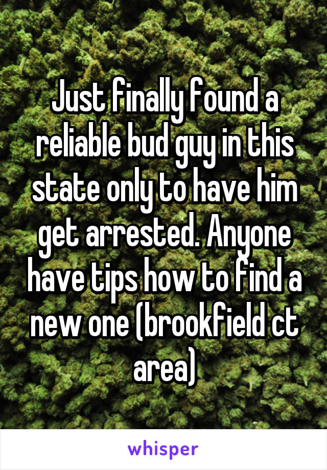Just finally found a reliable bud guy in this state only to have him get arrested. Anyone have tips how to find a new one (brookfield ct area)