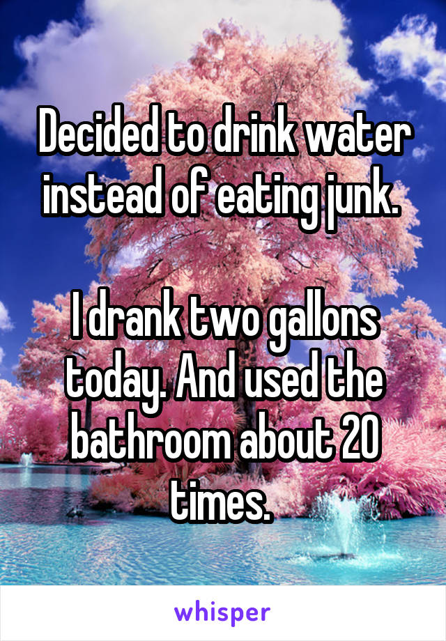 Decided to drink water instead of eating junk.   I drank two gallons today. And used the bathroom about 20 times.