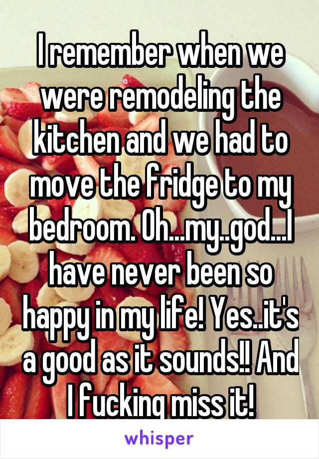 I remember when we were remodeling the kitchen and we had to move the fridge to my bedroom. Oh...my..god...I have never been so happy in my life! Yes..it's a good as it sounds!! And I fucking miss it!