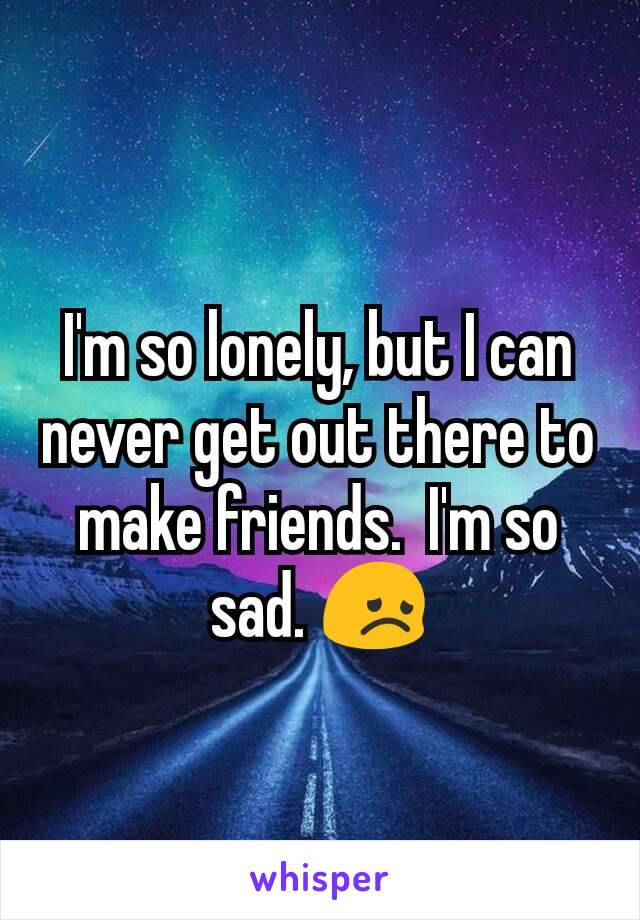 I'm so lonely, but I can never get out there to make friends.  I'm so sad. 😞