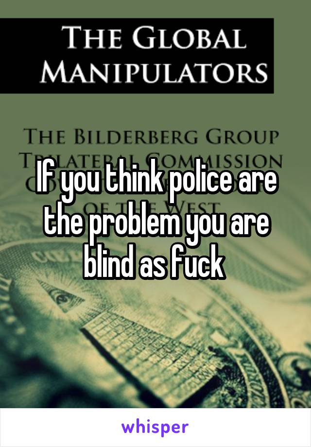 If you think police are the problem you are blind as fuck