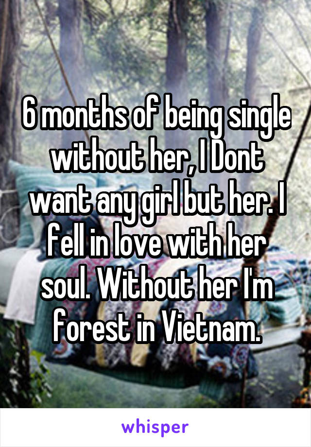 6 months of being single without her, I Dont want any girl but her. I fell in love with her soul. Without her I'm forest in Vietnam.