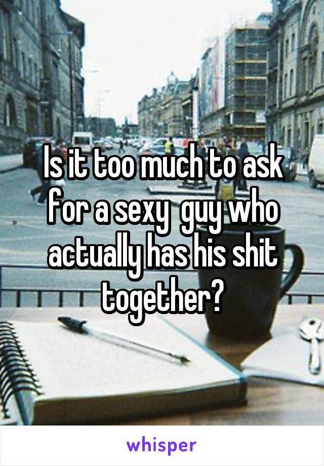 Is it too much to ask for a sexy  guy who actually has his shit together?