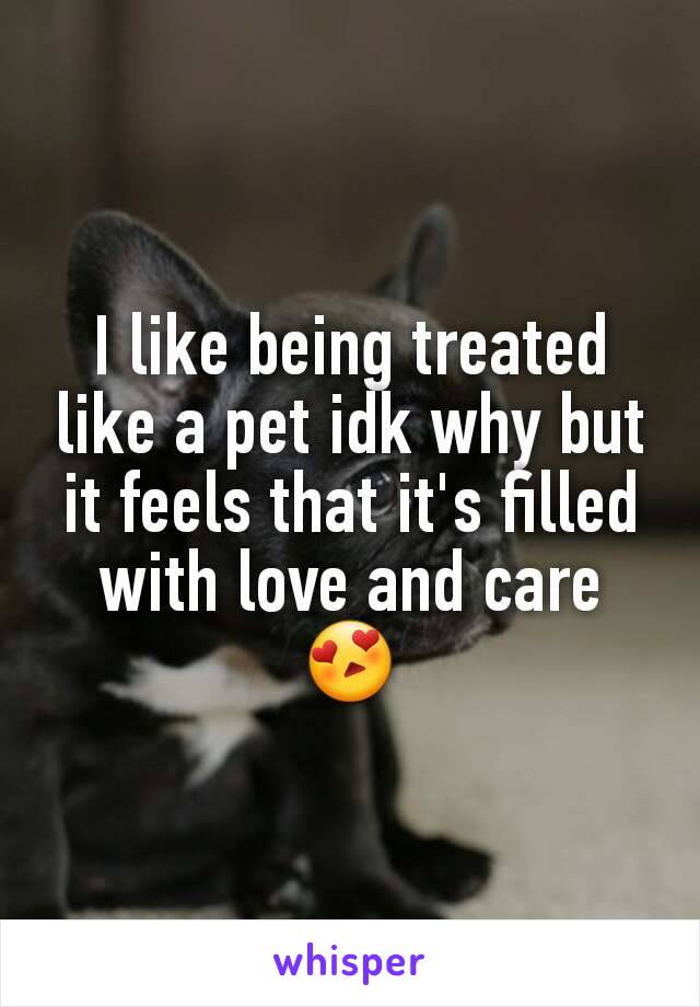 I like being treated like a pet idk why but it feels that it's filled with love and care 😍