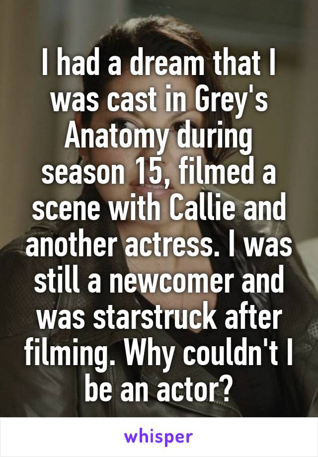 I had a dream that I was cast in Grey's Anatomy during season 15, filmed a scene with Callie and another actress. I was still a newcomer and was starstruck after filming. Why couldn't I be an actor?
