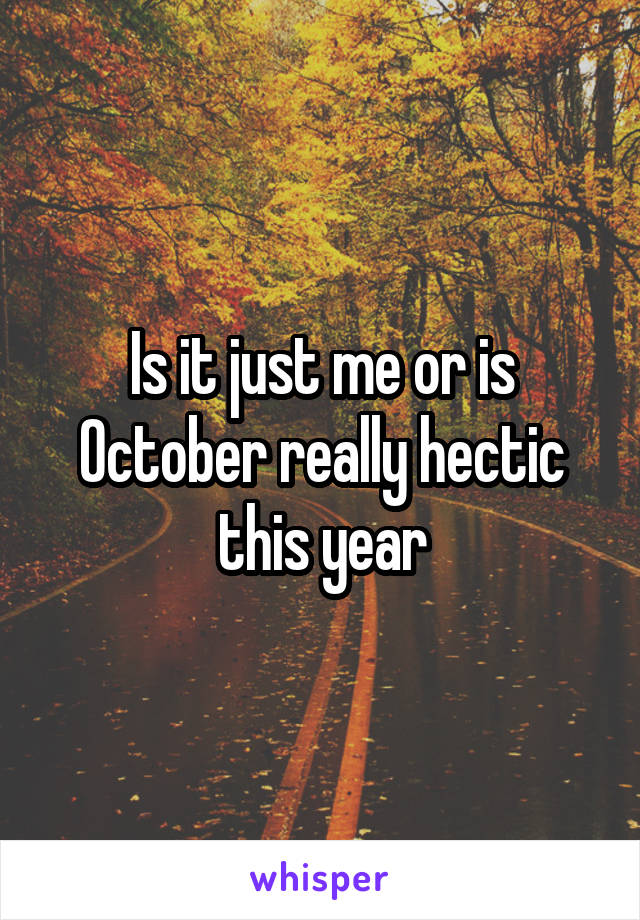Is it just me or is October really hectic this year