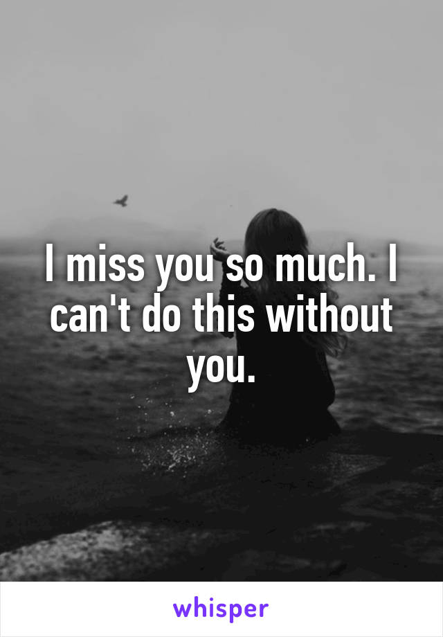 I miss you so much. I can't do this without you.
