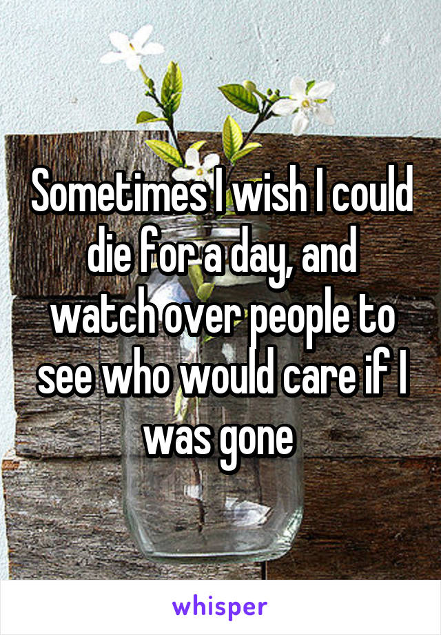 Sometimes I wish I could die for a day, and watch over people to see who would care if I was gone