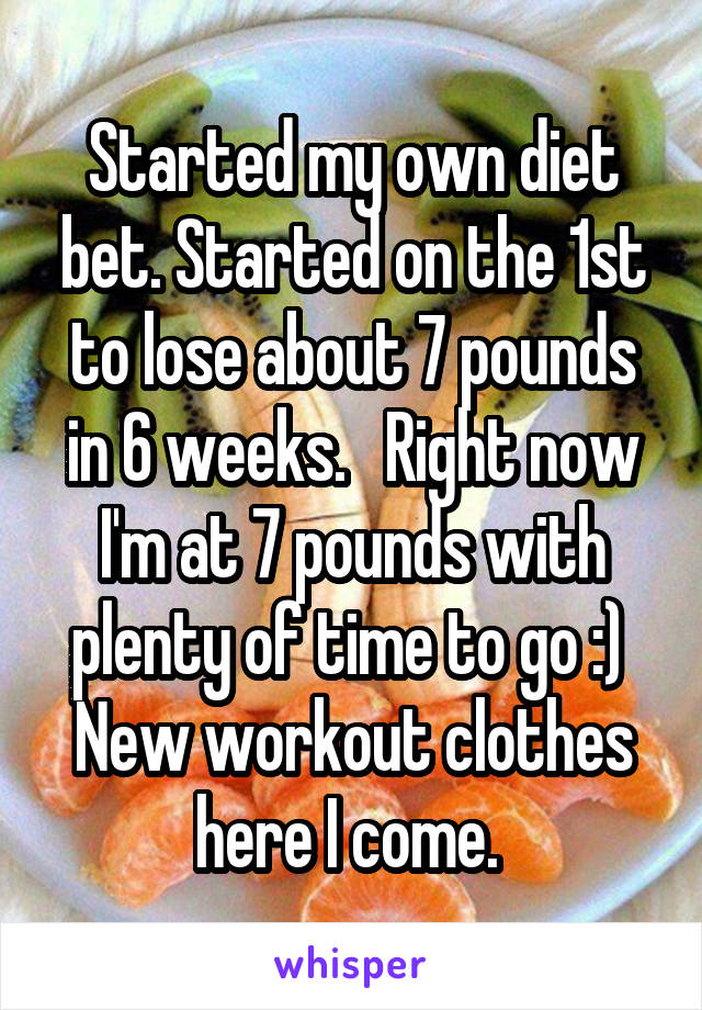 Started my own diet bet. Started on the 1st to lose about 7 pounds in 6 weeks.   Right now I'm at 7 pounds with plenty of time to go :)  New workout clothes here I come.