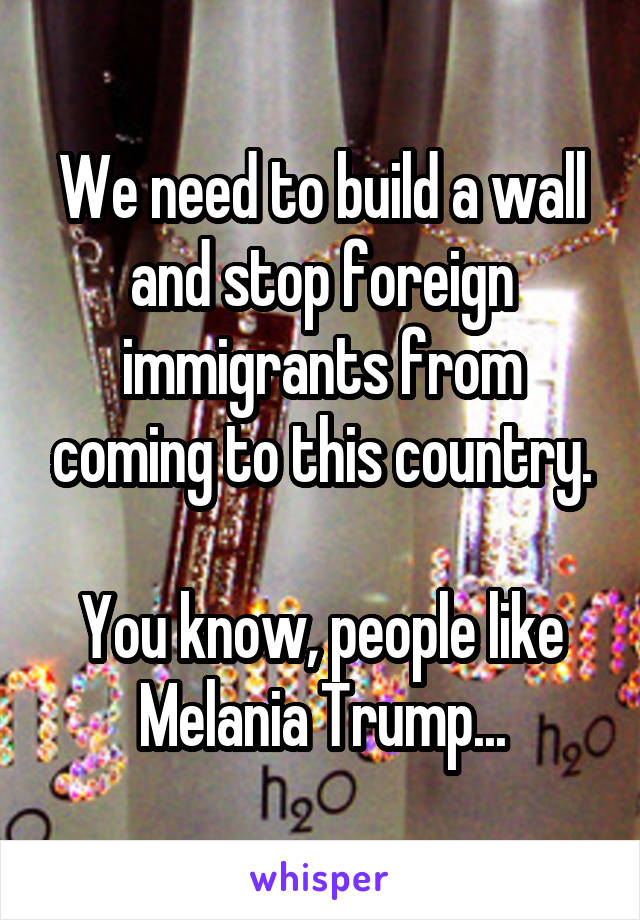 We need to build a wall and stop foreign immigrants from coming to this country.  You know, people like Melania Trump...