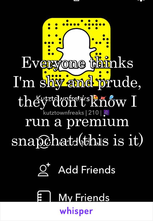 Everyone thinks I'm shy and prude, they don't know I run a premium snapchat (this is it)