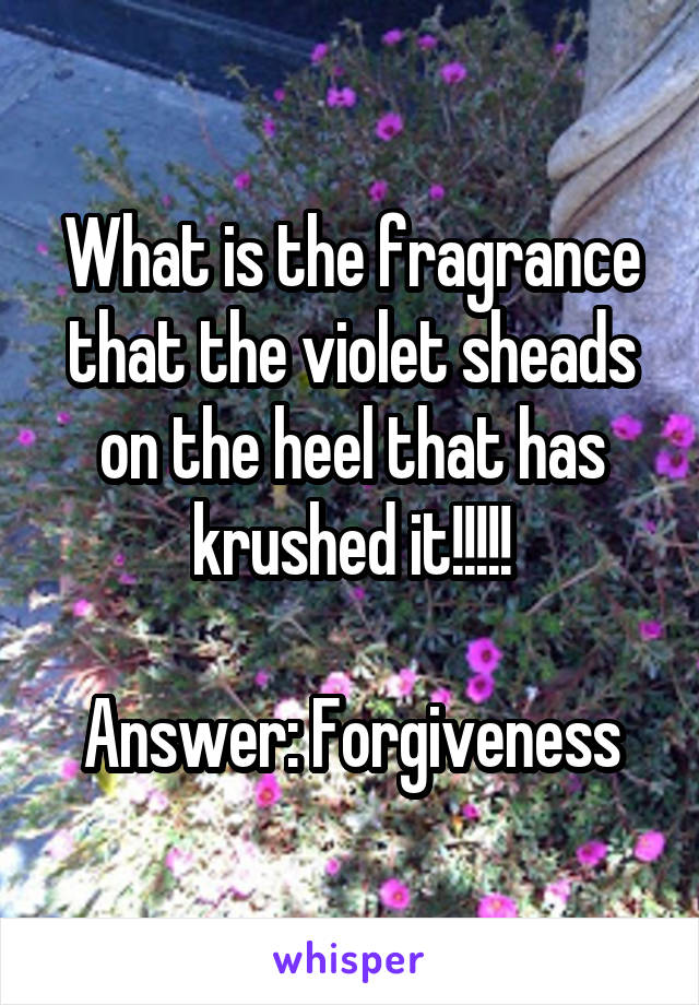 What is the fragrance that the violet sheads on the heel that has krushed it!!!!!  Answer: Forgiveness
