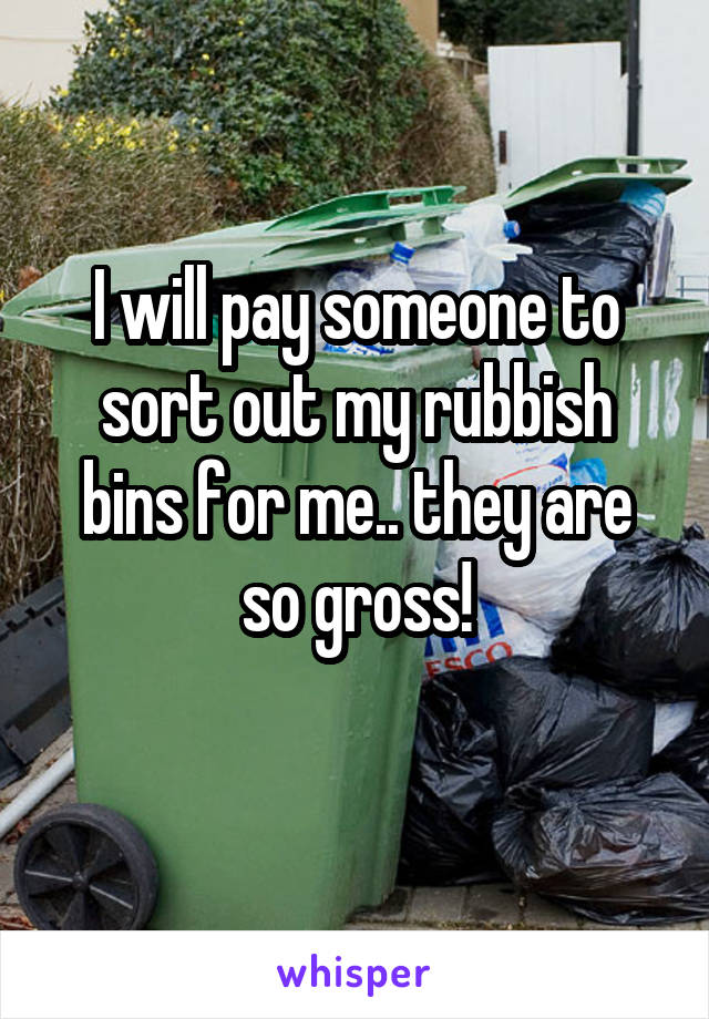 I will pay someone to sort out my rubbish bins for me.. they are so gross!