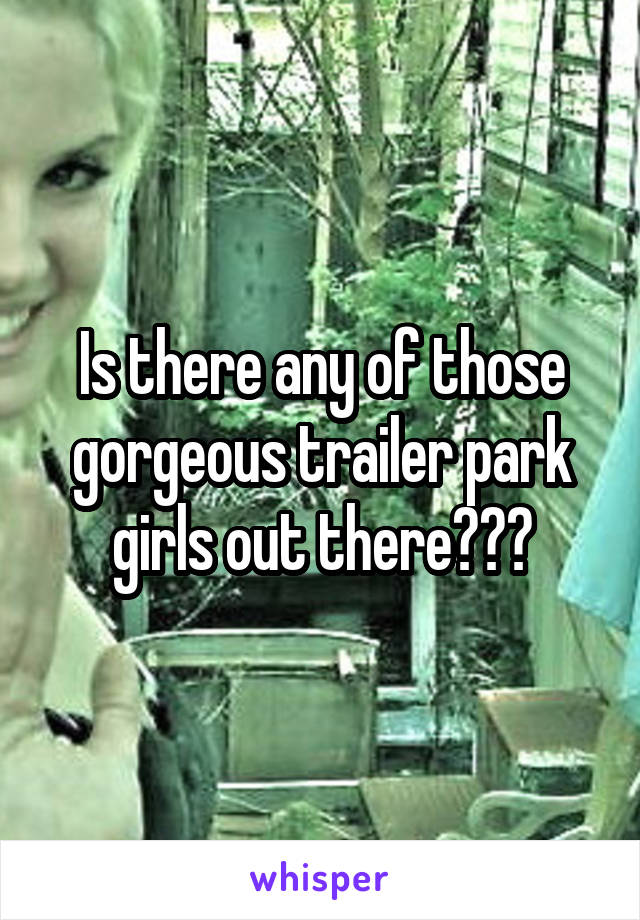 Is there any of those gorgeous trailer park girls out there???